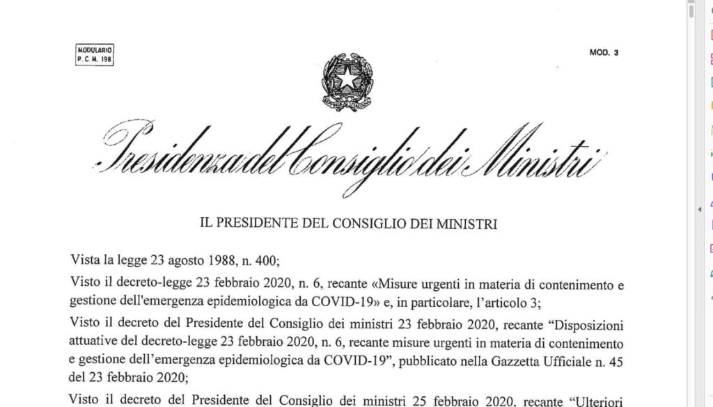 decreto Coronavirus testo integrale