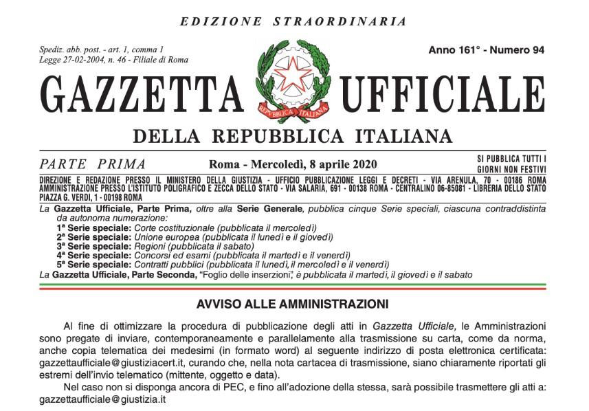 Decreto Liquidità testo integrale – DL 8 Aprile Gazzetta Ufficiale