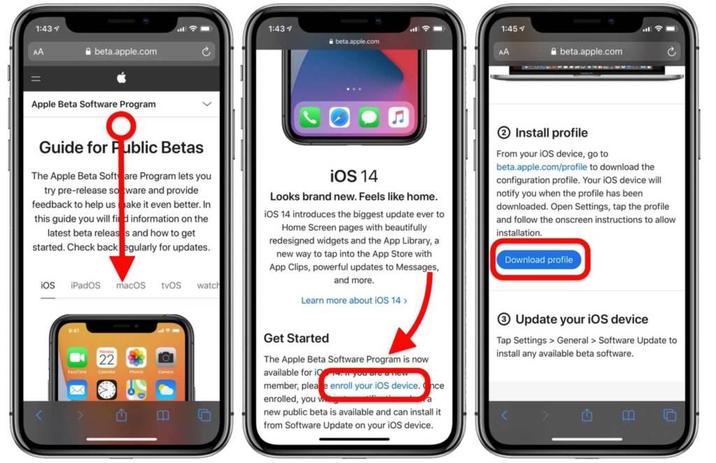 Download beta iOS 14 sito web Apple