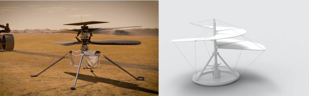 Elicottero Ingenuity NAsa e Leonardo Da Vinci