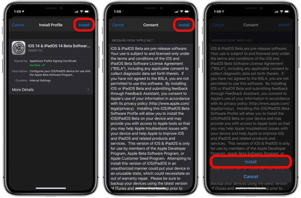 Installazione profilo iOS 14 beta