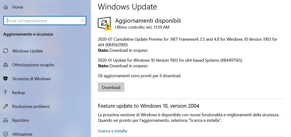 windows 10 update aggiornamento 2004