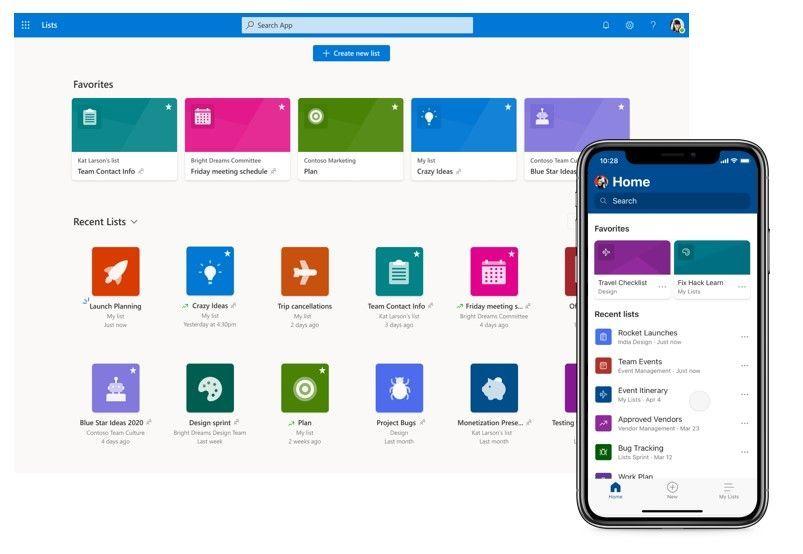 home page Microsoft Lists
