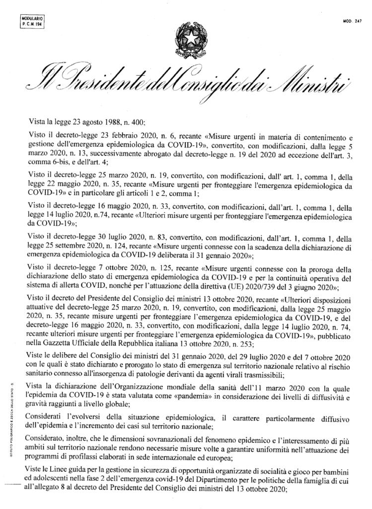Nuovo Dpcm 18 ottobre pdf