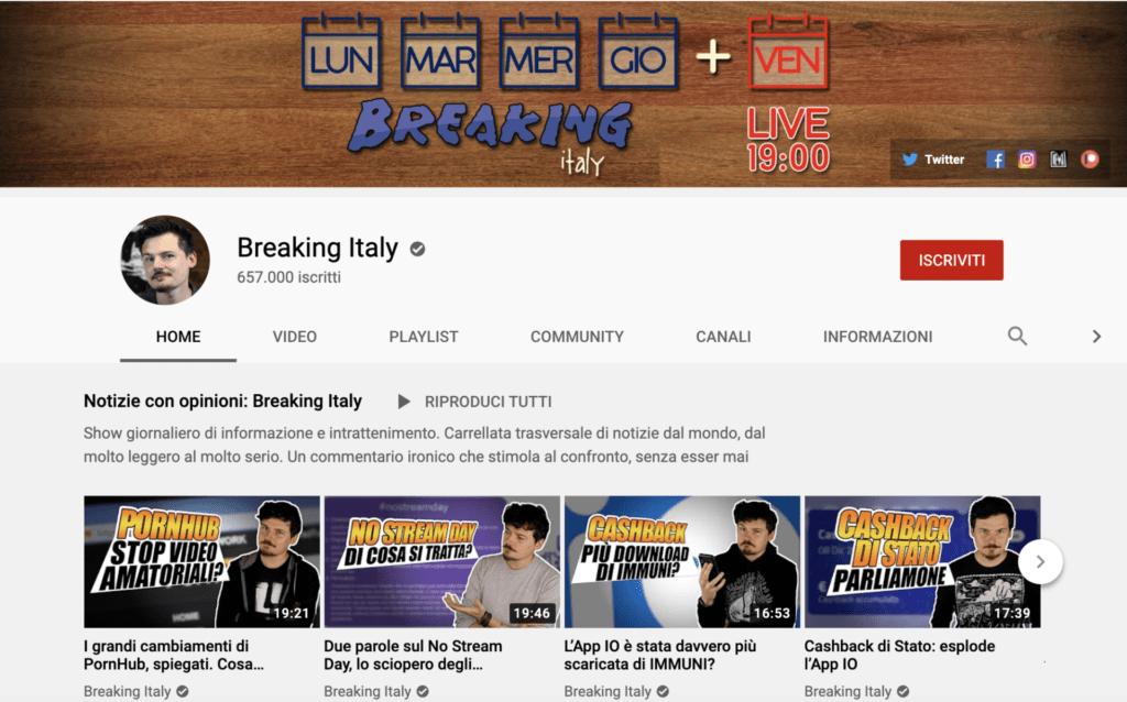 migliori youtuber italiani Bracking Italy
