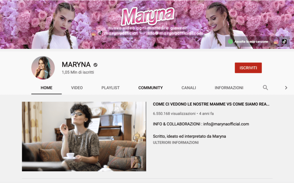 migliori youtuber italiani Maryna