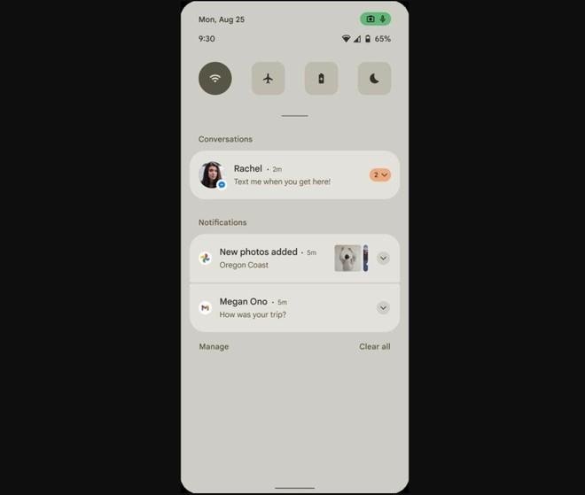 android 12 pannello notifiche