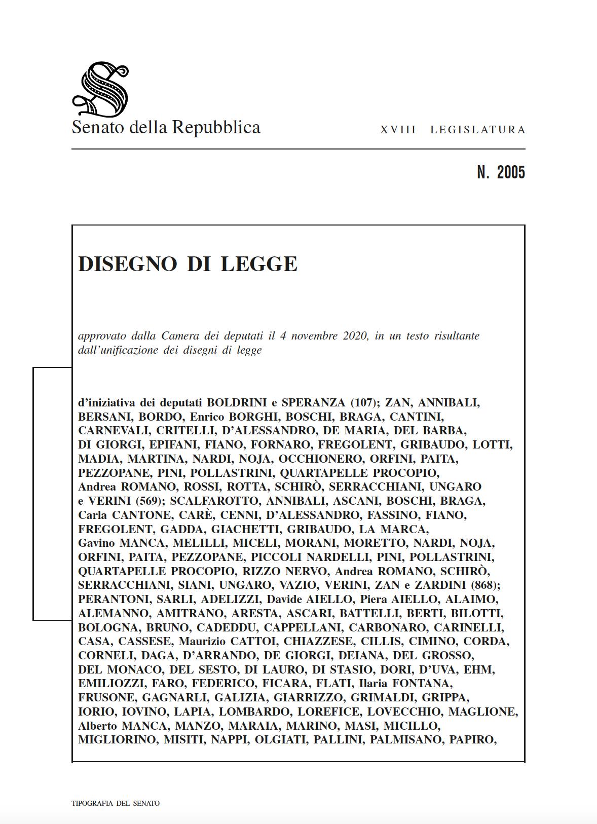 Ddl Zan testo completo PDF