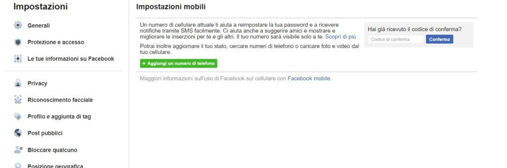 verifica numero cellulare facebook
